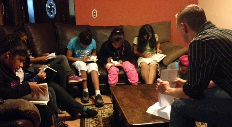 Bible study with the girls from the orphanage Fundaninos