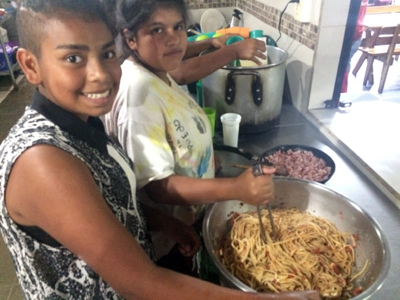 Culinary Arts classes with Sharie Martiny at the orphanage Fundaninos