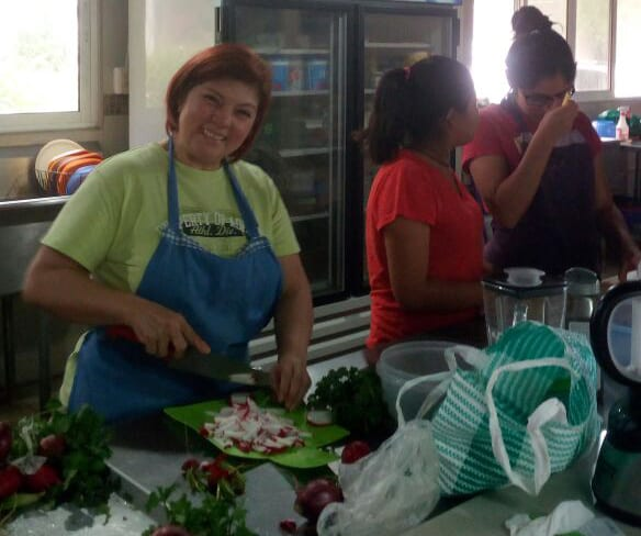 Cooking class at the orphanage Fundaninos, with volunteers from our local church, Casa De Libertad