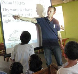 Bible and English classes with the students