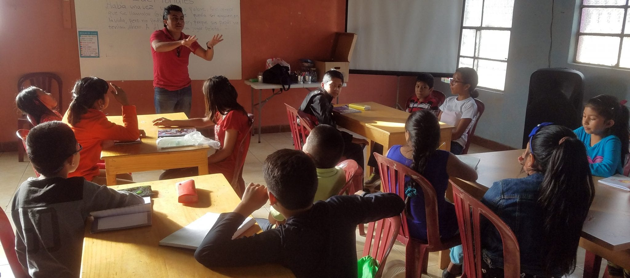 Eduardo teaching math class at our community center in colonia santa fe